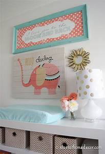 coral and teal nursery with a custom made name cutout by With enchanting ideas with teal wall decals