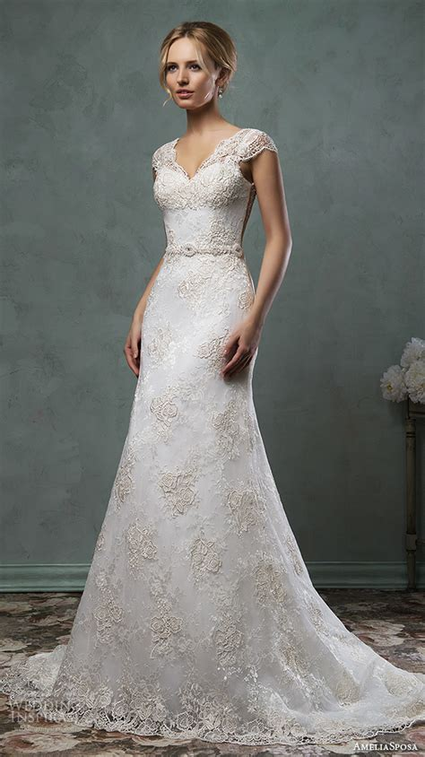 A Line Cap Sleeve Wedding Dress