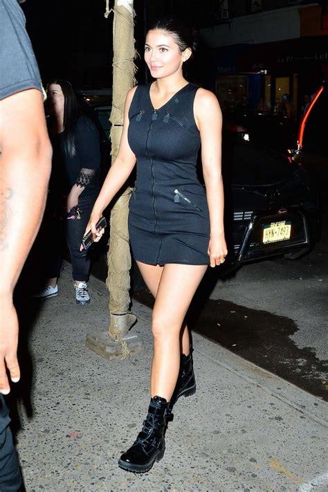 Kylie Jenner wears a black Fendi zipper dress during a ...