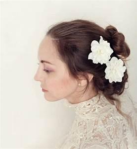 White Flower Hair Clips Bridal Bobby Pin Set Floral