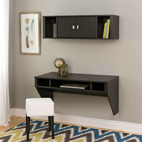 wall mounted floating computer desk  hutch  storage