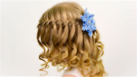 Waterfall Brading On Wavy Hair. Party Hairstyle For Little
