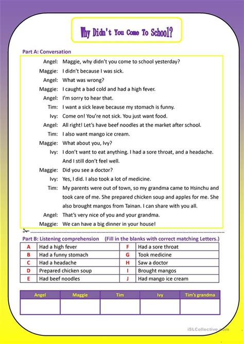 Why Didn't You Come To School Yesterday? Worksheet  Free Esl Printable Worksheets Made By Teachers