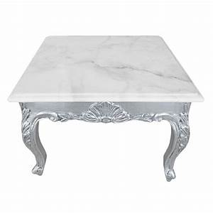 square coffee table baroque style wood silvered with leaf With white marble and wood coffee table