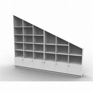 bibliotheque sous pente sur mesure modele large With meuble pour separation de piece 3 meuble sous pente ou sous escalier sur mesure