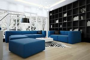 Heller Boden Dunkle Möbel : blaues sofa 50 einrichtungsideen mit sofa in blau die sehenswert sind ~ Bigdaddyawards.com Haus und Dekorationen