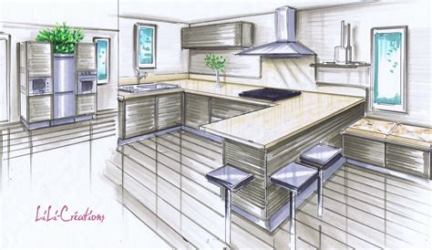 perspective cuisine dessin beautiful salon moderne en perspective pictures lalawgroup us lalawgroup us