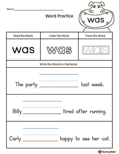 Build Sentences Using Sight Word Was Myteachingstationcom