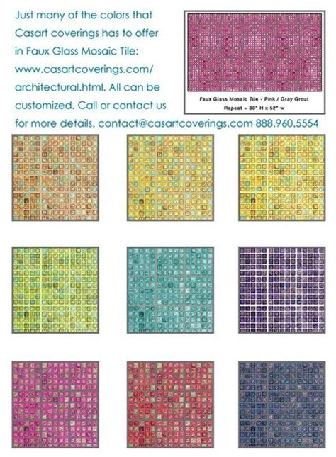 removable and reusable faux glass mosaic tile eclectic
