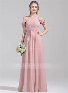 a line princess off the shoulder floor length chiffon With bridesmaid wedding dresses