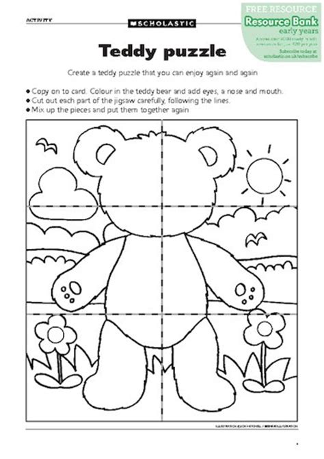teddy bear songs preschool teddy puzzle free early years teaching resource scholastic 466