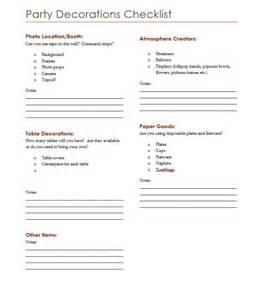 Birthday Party Supplies Checklist