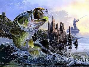 Bass Fishing Lake Sunset Painting Fabric Poster 32 U0026quot  X 24