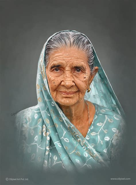 portrait painting of an old lady self digital portrait