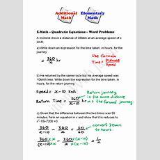 Emath  Quadratic Equations  Word Problems  Singapore Additional Math (amath) And Math (e