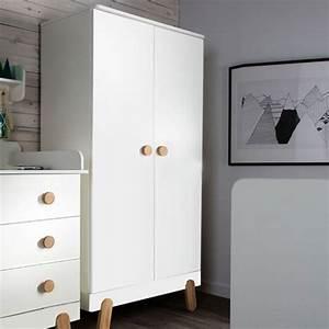 Armoire Bois Blanc : armoire penderie en bois blanc et naturel 2 portes 2 tag res iga pinio decoclico ~ Teatrodelosmanantiales.com Idées de Décoration