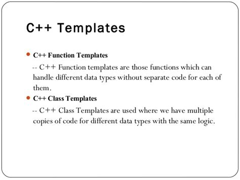 cpp template understanding functions templates in c programming language and how it works pantomath