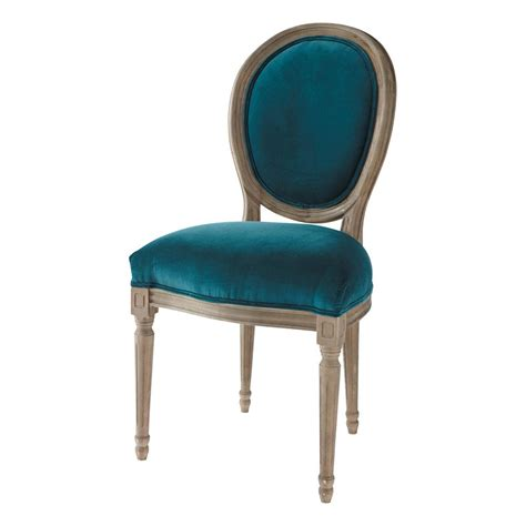 chaise vintage maison du monde velvet and solid oak medallion chair in peacock blue louis