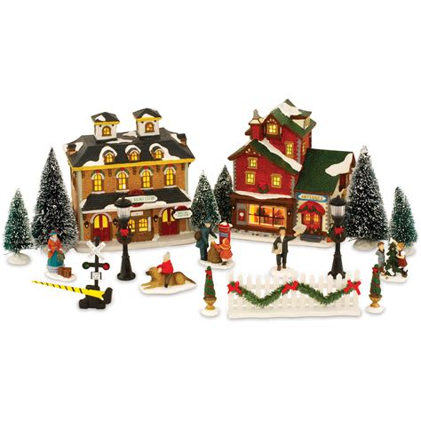 ceramic lighted christmas village set festival collections