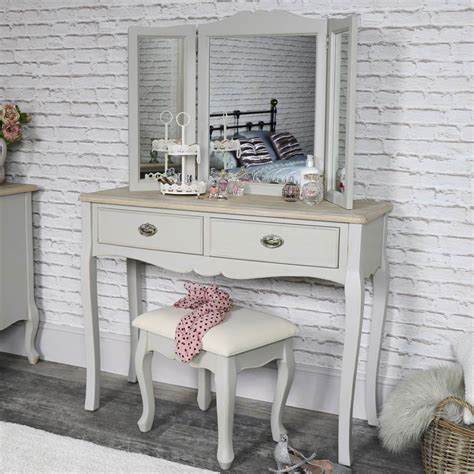 Dressing Table With Mirror And Stool by Vintage Grey Dressing Table Mirror And Stool Set