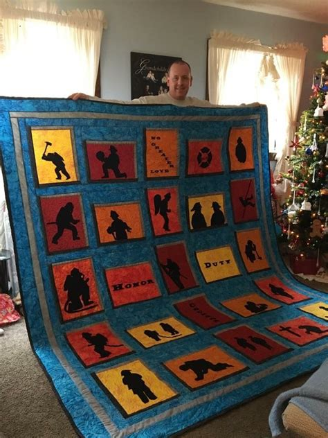 fireman quilt ideas  pinterest firefighters thin red  flag  american flag