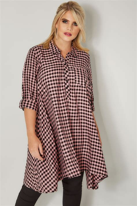 c add to container with templates pink gingham longline shirt with hanky hem plus size 16 to 36