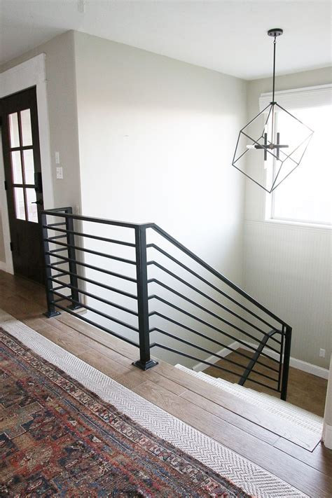 Steel Banister by All The Details On Our New Horizontal Stair Railing