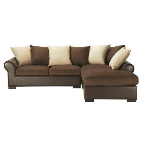 canap 233 d angle convertible 5 places en tissu marron