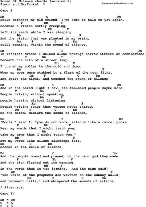 the sound of silence testo in italiano song lyrics with guitar chords for sound of silence