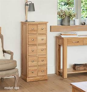 Mobel Oak Multi Drawer CD Storage Chest Entertainment