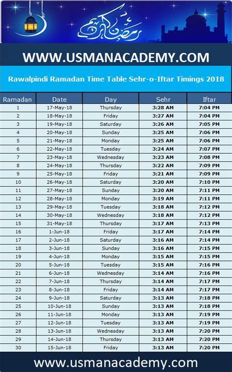 rawalpindi ramadan timings  calendar rawalpindi