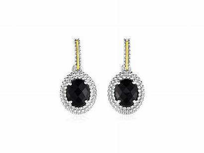 Onyx Earrings Gold Silver Oval Sterling Yellow
