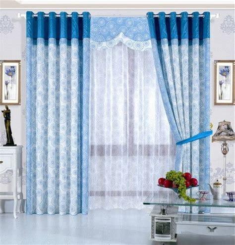 blue living room curtains modern house