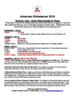 warriors inga schedule american birkebeiner