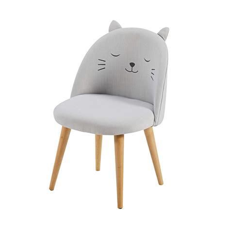 chaises enfants chaise enfant gris clair à motifs cats maisons du monde