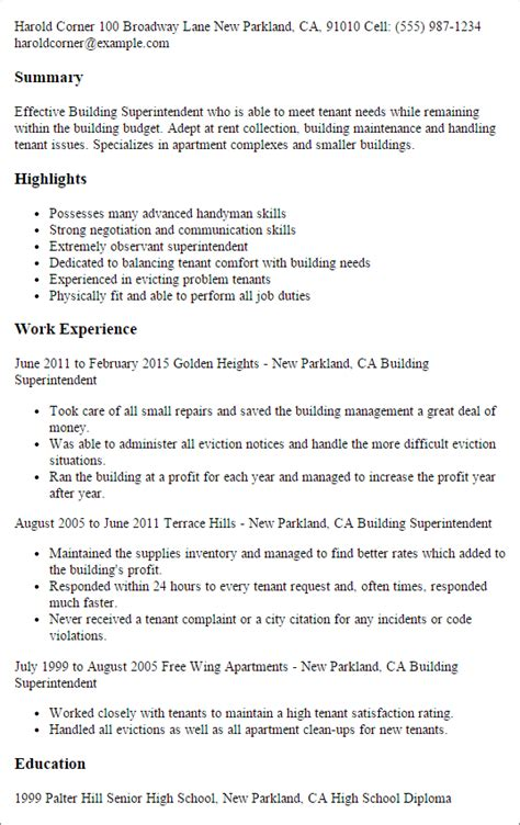 Building Construction Supervisor Resume by Professional Building Superintendent Templates To Showcase Your Talent Myperfectresume