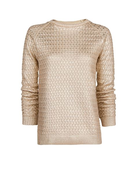 Mango Textured Metallic Sweater In Metallic Lyst