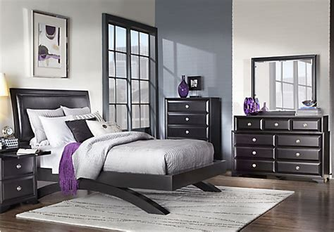 belcourt black  pc queen platform bedroom contemporary