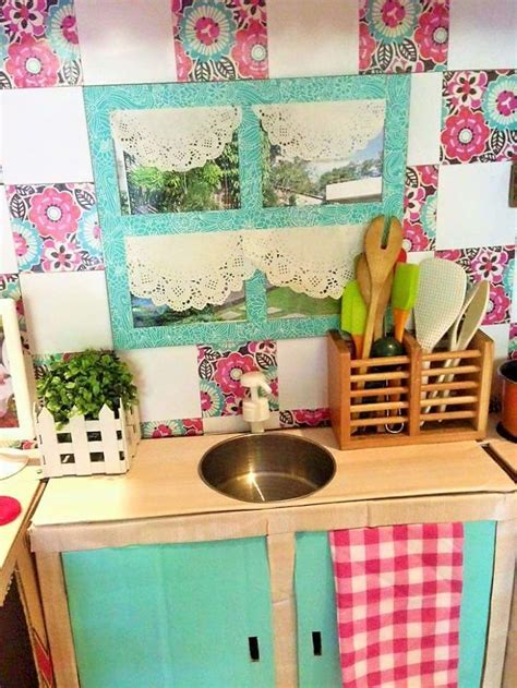 Mini Toy Play Kitchen Set For Kids Made Of Cardboard Boxes