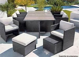 Salon de jardin leclerc table exterieur design Maisonjoffrois