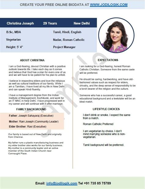 marriage biodata format for christian greens