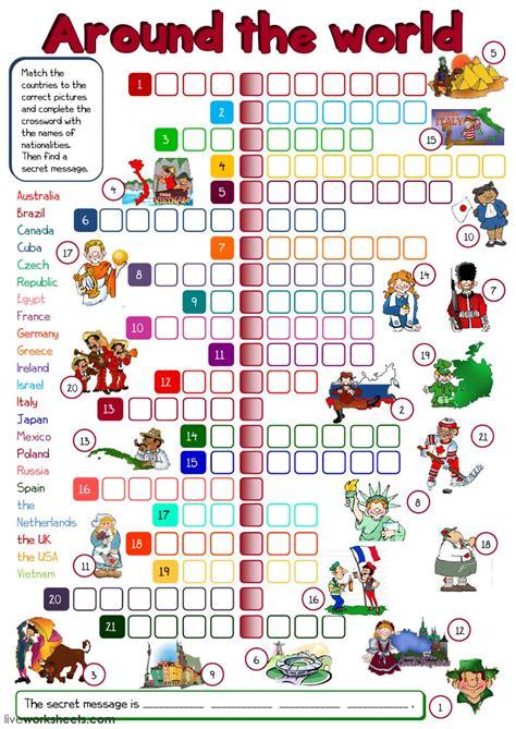 world crossword interactive worksheet