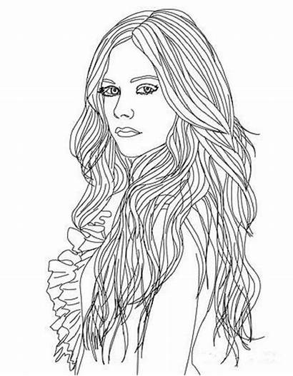 Coloring Hair Pages Adult Lavigne Avril Sheets
