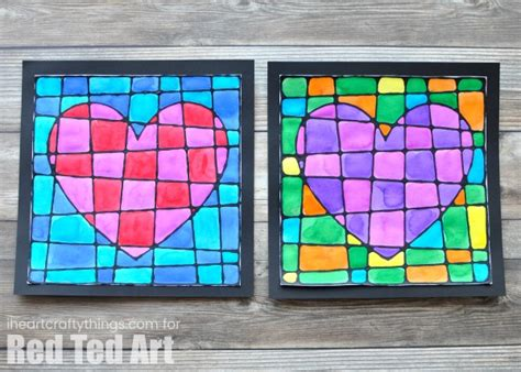 Black Glue Heart Art Project - Red Ted Art - Make crafting ...