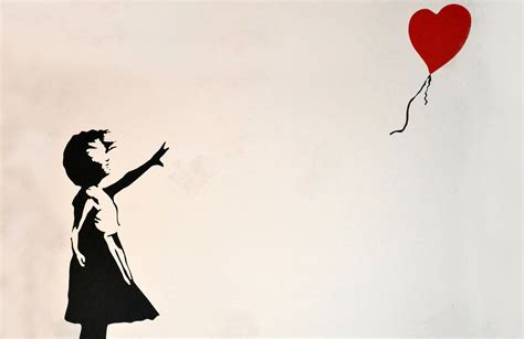 Blue Red And Yellow Wallpaper Banksy Balloon Girl Wallpaper Wall Mural Muralswallpaper Co Uk
