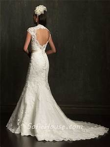 mermaid cap sleeve scalloped neck open back lace wedding With lace wedding dress with sleeves and open back