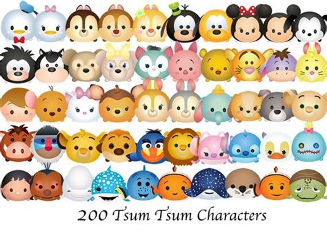 Tsum Tsum. 200 High Resolution Digital Clipart. Disney Tsum