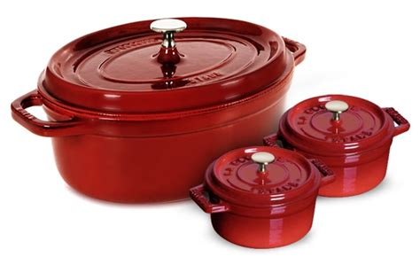 staub oval dutch oven   bonus mini dutch ovens  quart cherry red cutlery