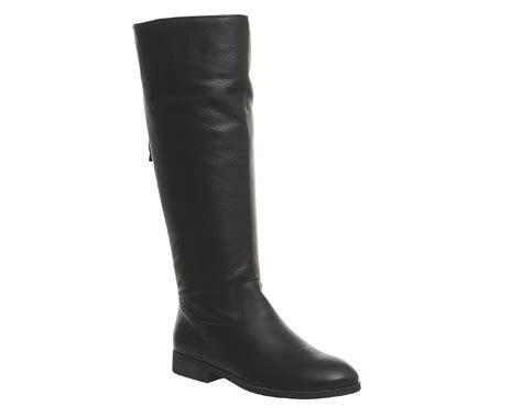 Office Ecru Back Zip Knee Boots Black Leather  Knee Boots
