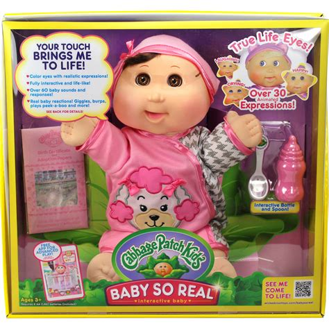 """Cabbage Patch Kids 14"""" Baby So Real Brunette Walmart"""